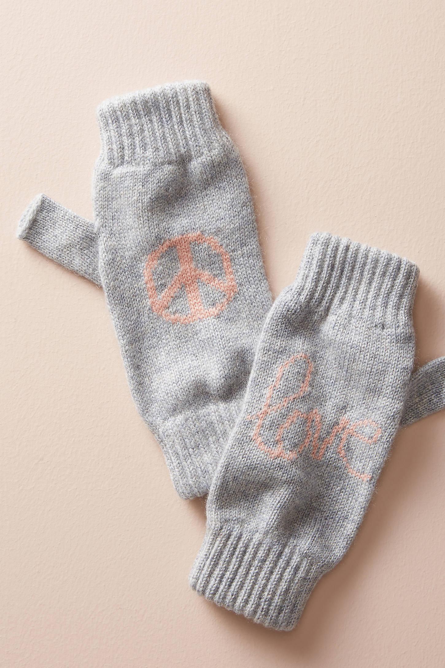 Peace Cashmere Fingerless Gloves