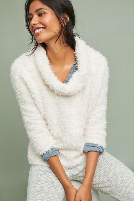 Sherpa Patch Turtleneck Pullover by Anthropologie