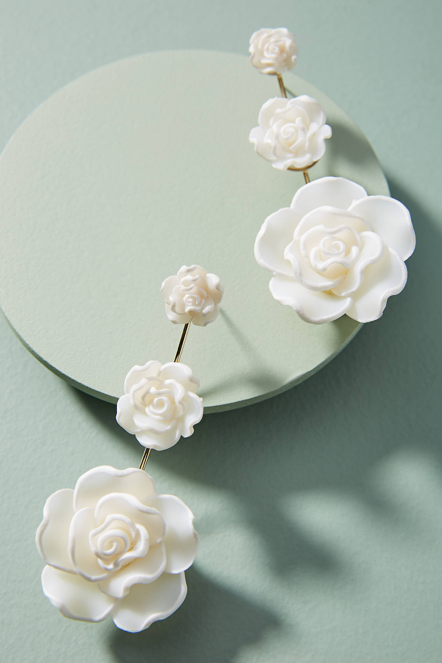 White Rose Drop Earrings