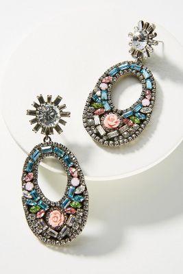 Glass Mosaic Drop Earrings  -    BLUE