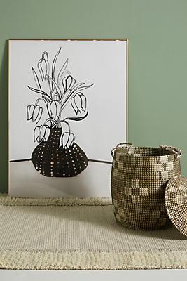 Slide View: 1: Flowers In A Black Vase Wall Art