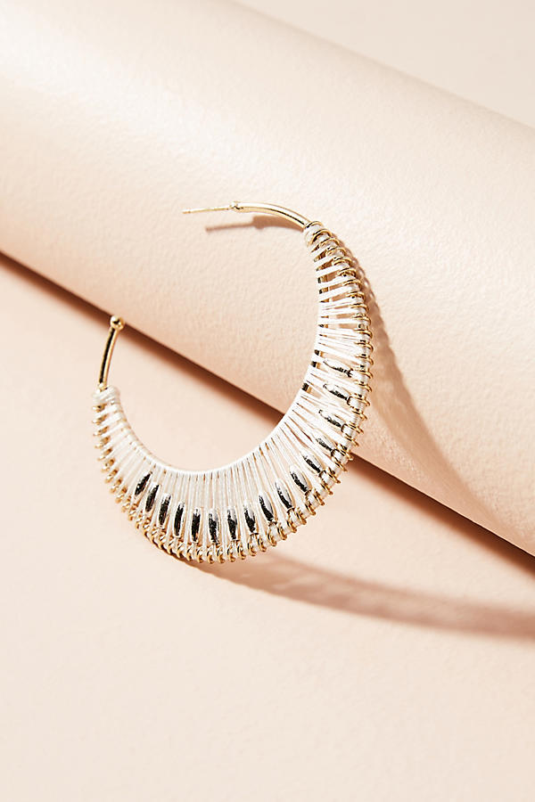 Slide View: 2: Crocheted Hoop Earrings