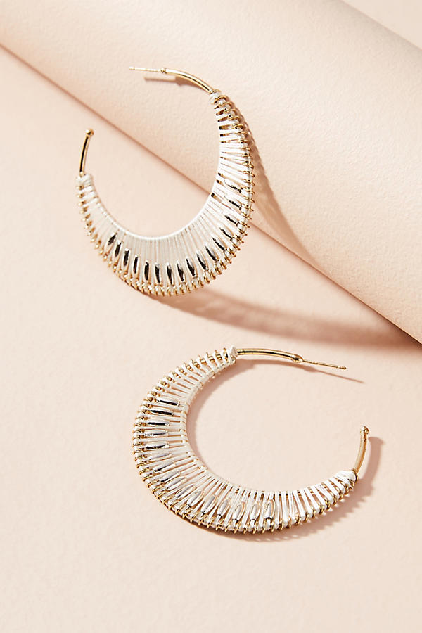 Slide View: 1: Crocheted Hoop Earrings