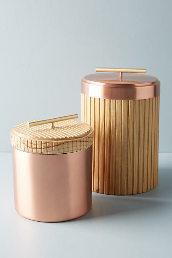 Metalwood Canister - Copper, Size Round