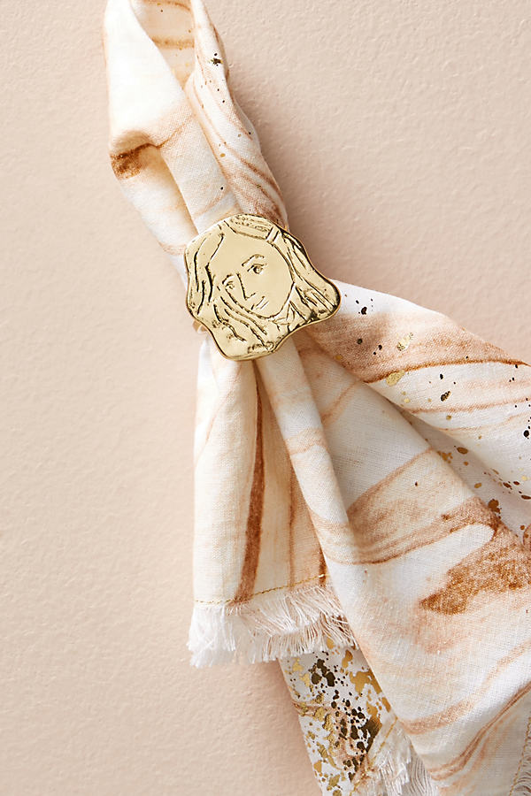 Portraiture Napkin Ring - Gold, Size Round