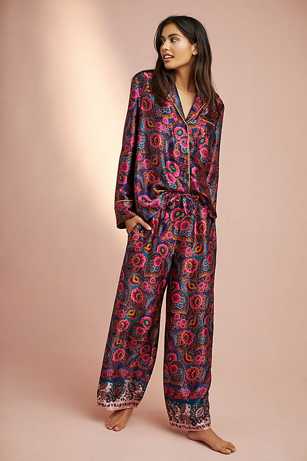 Louhi Silk Sleep Pants - Red Motif, Size L