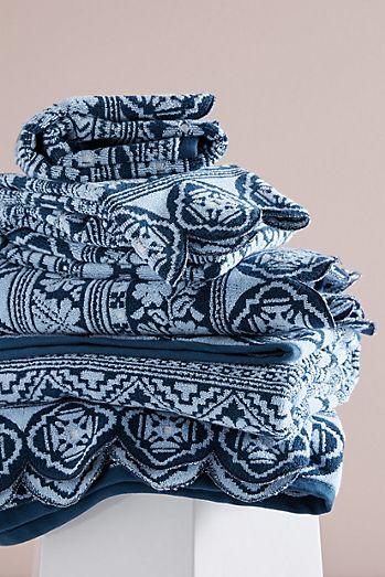 Classic Blue & White Plaid Pattern   Bath Towel Set