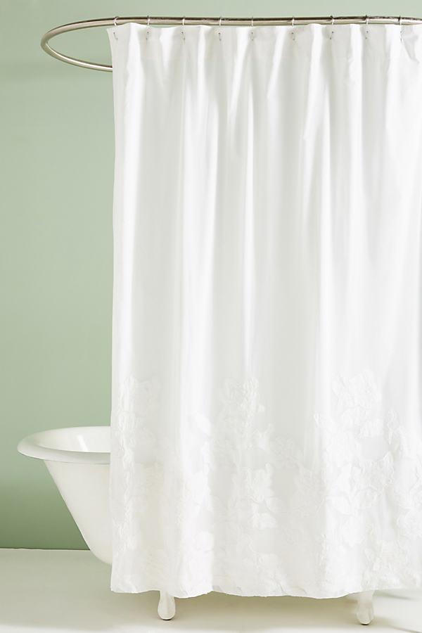 Appliqued Florals Shower Curtain - White, Size Shower Cur