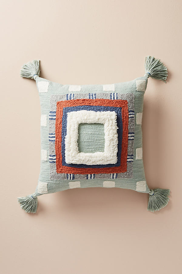 "Tufted Rayas Cushion - Wedgewood Blue, Size 18"" Sq"
