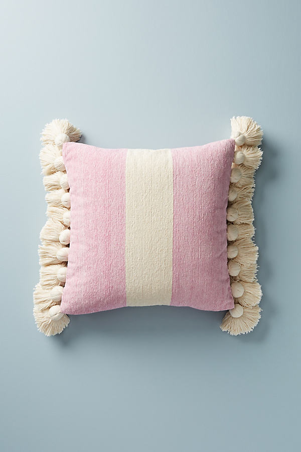 "Tasseled Nadia Cushion - Pink, Size 18"" Sq"
