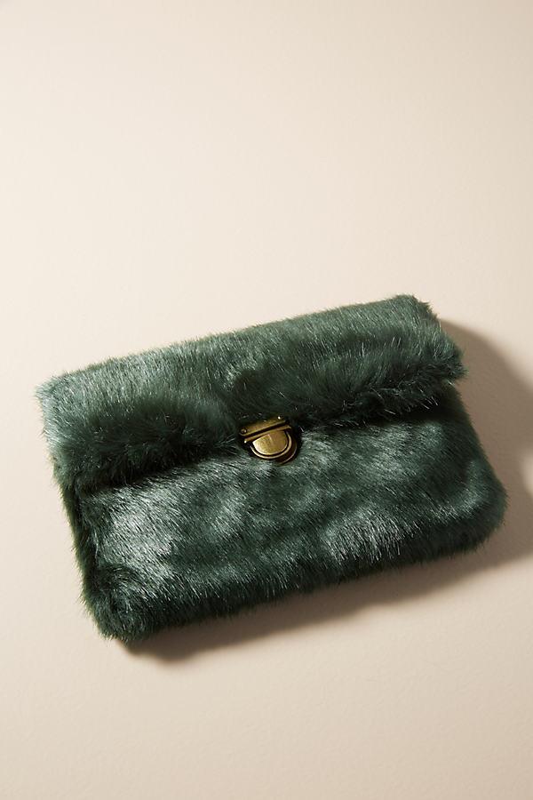 Mavani Faux Fur Mini Shoulder Bag - Blue