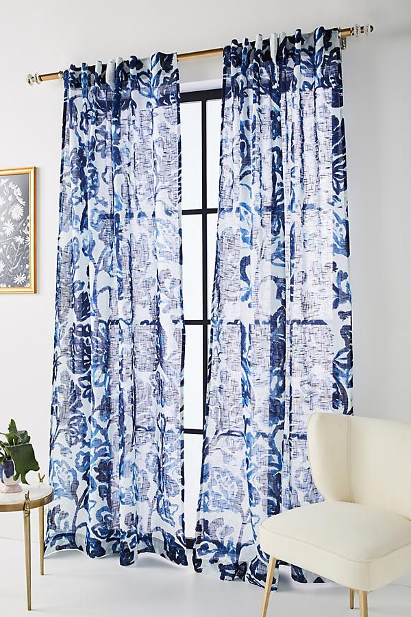 """Natalie Curtain - Blue Motif, Size 108"""""""