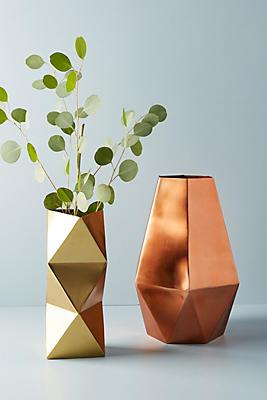 Slide View: 3: Faceted Metal Vase