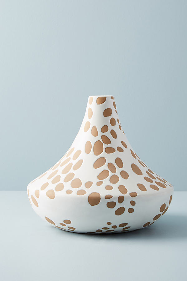 Spotted Ceramic Vase - Neutral Motif, Size L