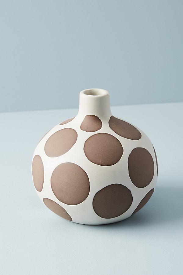 Spotted Ceramic Vase - Brown, Size S