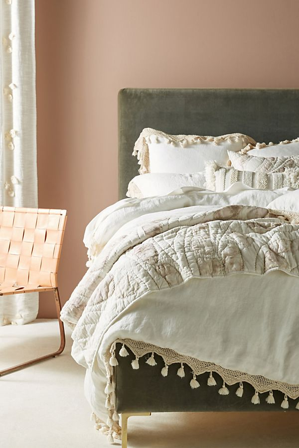 tasseled linen duvet cover anthropologie