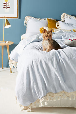 Slide View: 1: Tasseled Linen Duvet Cover