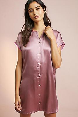 Slide View: 1: Corey Lynn Calter Mallory Silk Sleep Shirtdress
