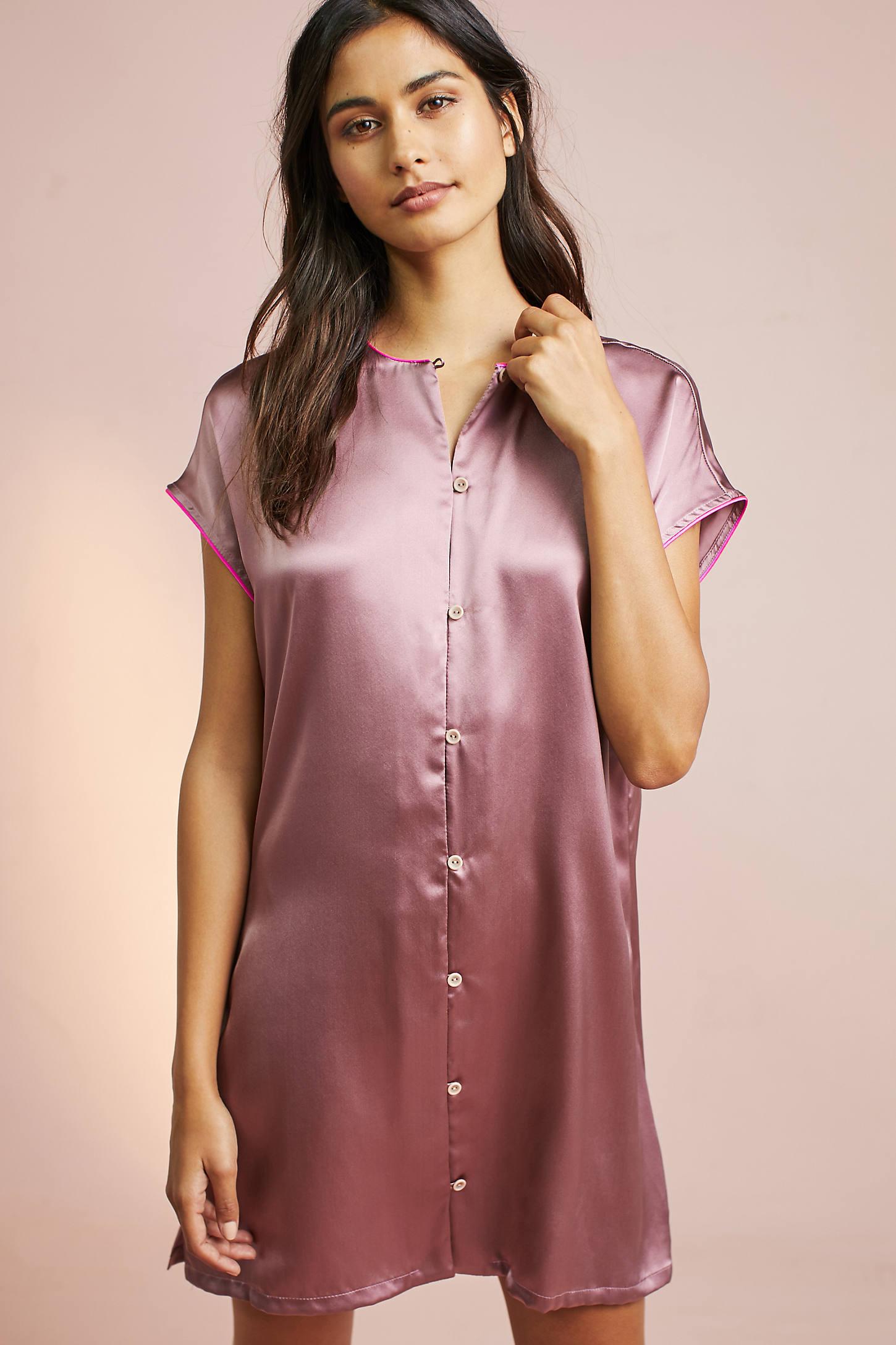 Corey Lynn Calter Mallory Silk Sleep Shirtdress
