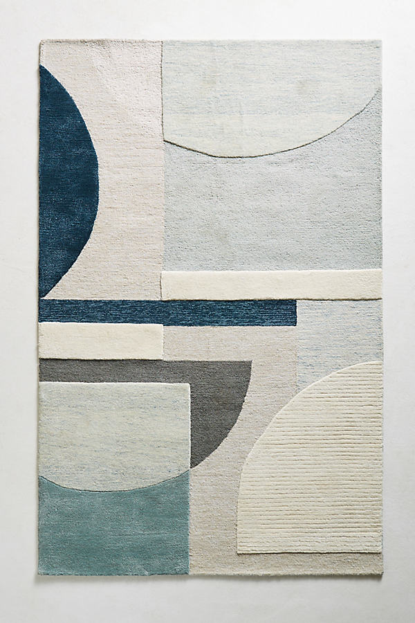 Abstract Geometry Rug Swatch - Blue Motif, Size Swatch