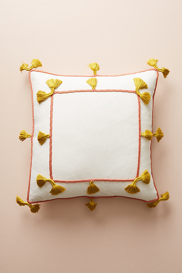 "Greta Tasseled Cushion - Ivory, Size 18"" Sq"