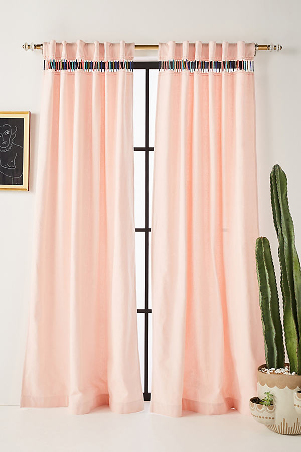 Embroidered Pibar Curtain - Peach, Size 108""