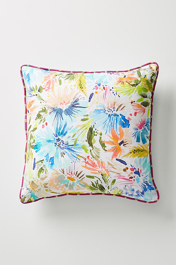 "Lillian Farag Painterly Cushion - Blue, Size 18"" Sq"