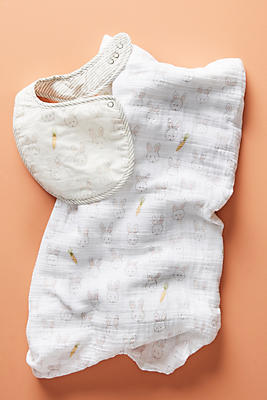 Slide View: 1: Bib & Swaddle Set