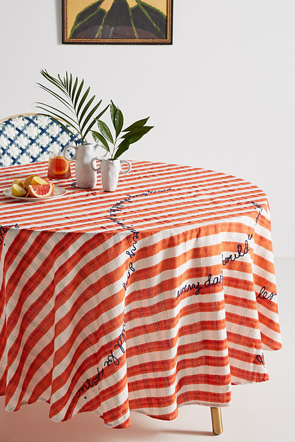 Abeline Round Tablecloth - Red Motif, Size Tablecloth