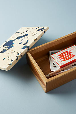 Slide View: 3: Marbled Teak Wood Box