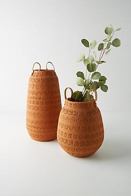 Slide View: 5: Stamped Terracotta Vase