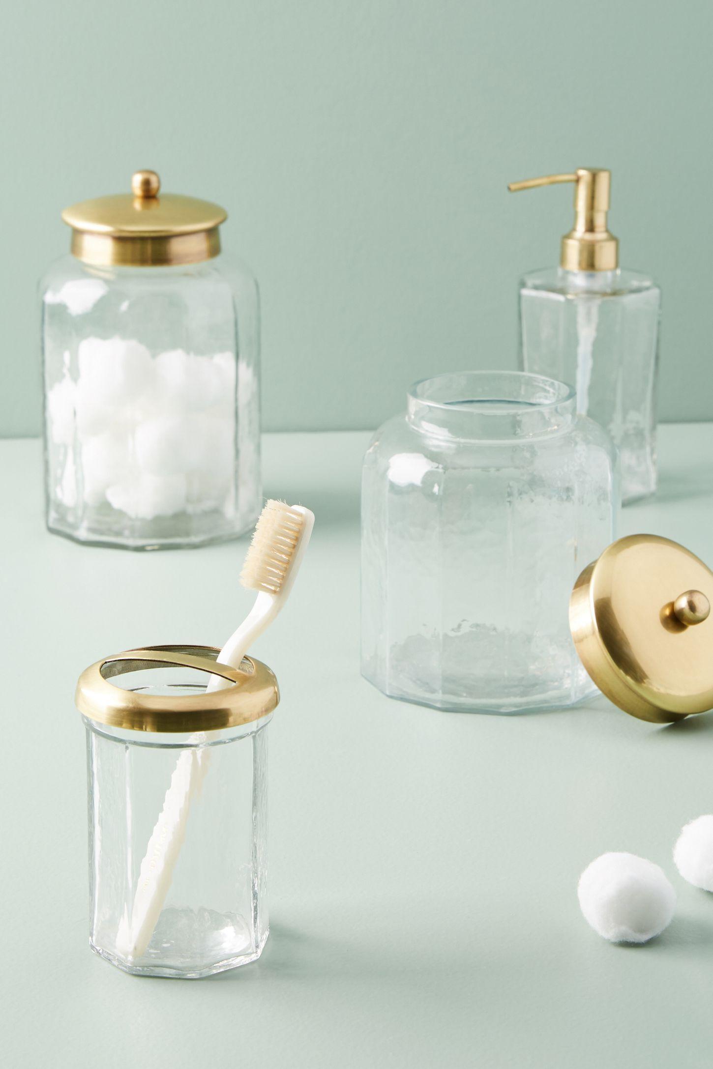 accessoires de salle de bain en verre doré | anthropologie french canada