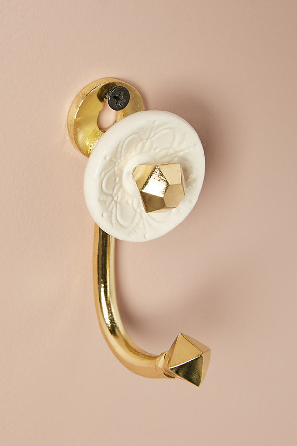 Jeweled Ceramic Hook - Ivory