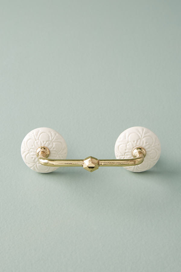 Jeweled Ceramic Handle - Ivory
