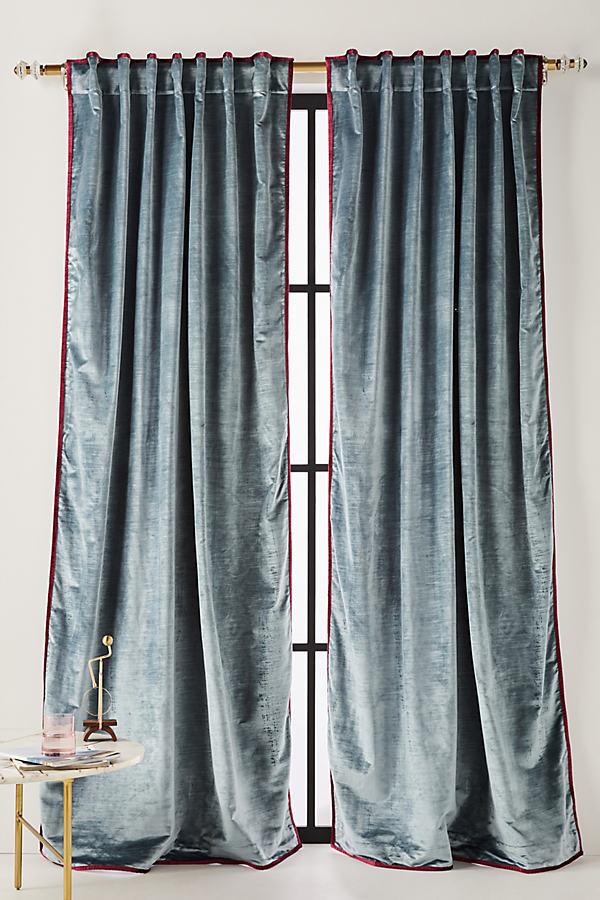 Petra Velvet Curtain - Blue, Size 108