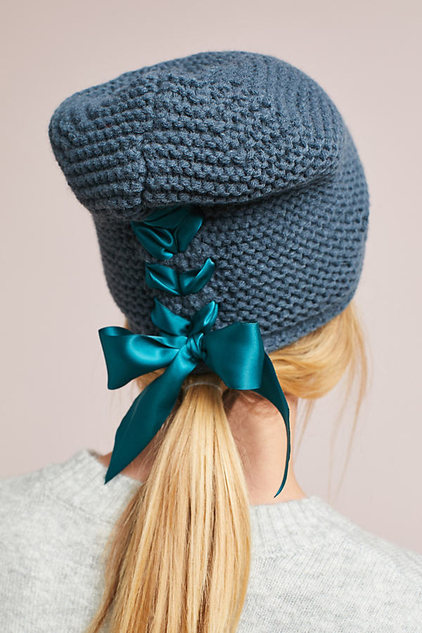 Ribbon Laced Beanie - Dark Turquoise