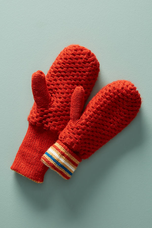 Track Stripe Waffle Knit Mittens - Red
