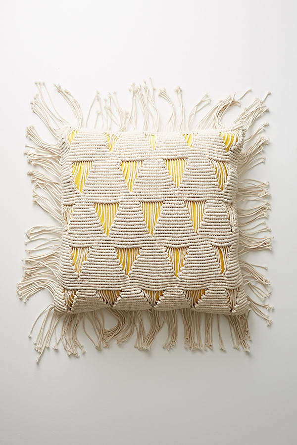 Fringed Agnes Floor Pillow - Ivory, Size 28X28