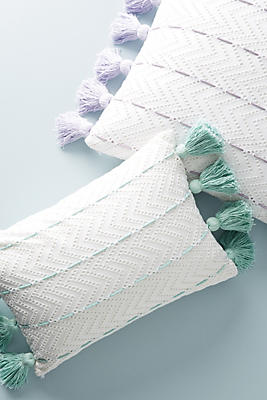 Slide View: 1: Tasseled Eyelet Pillow