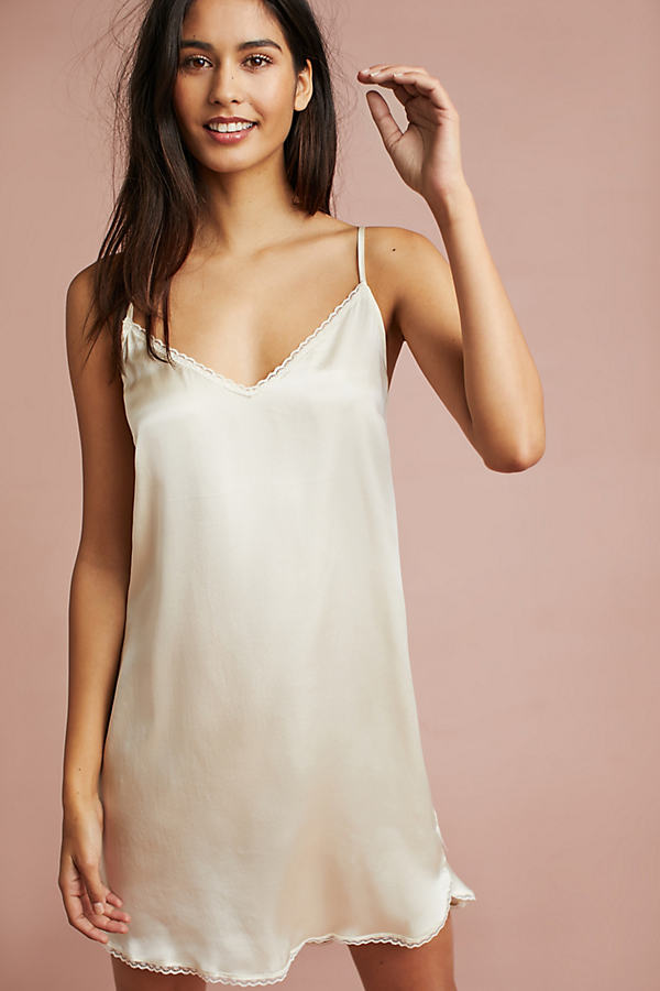 Floreat Laced Silk Slip - Ivory, Size Xs