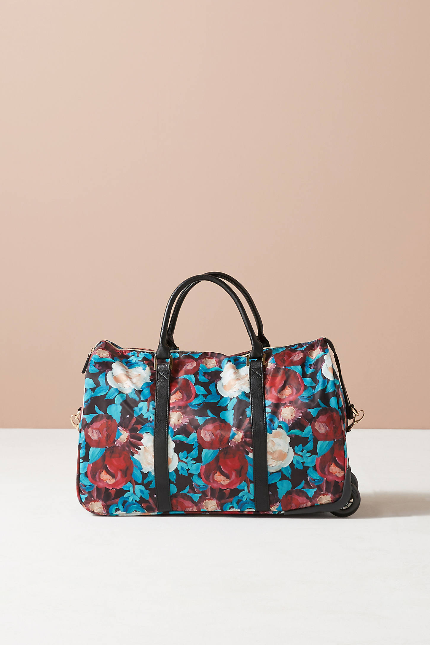 Floral Overlay Rolling Duffle Bag