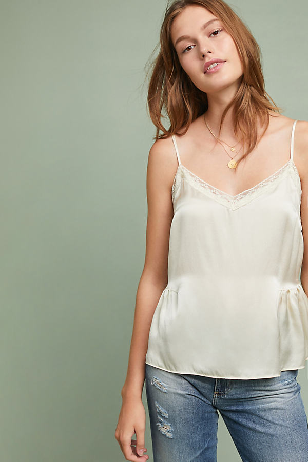 Laing Gathered Silk Lace Cami - Ivory, Size S