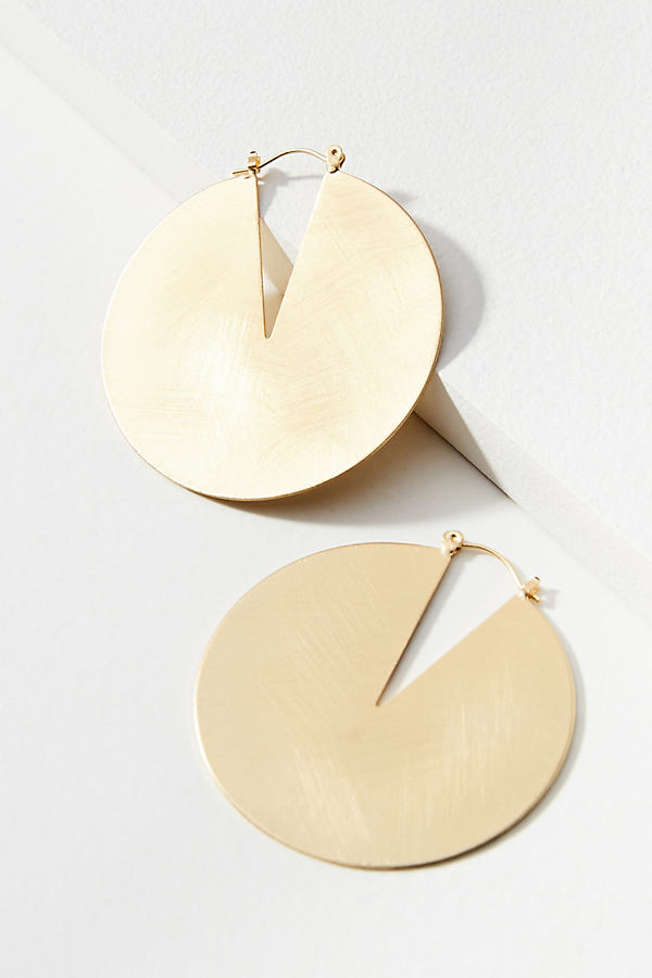 Lunar Cutout Hoop Earrings - Gold