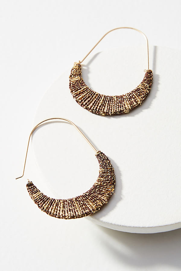 Davina Wrapped Crescent Hoop Earrings - Gold