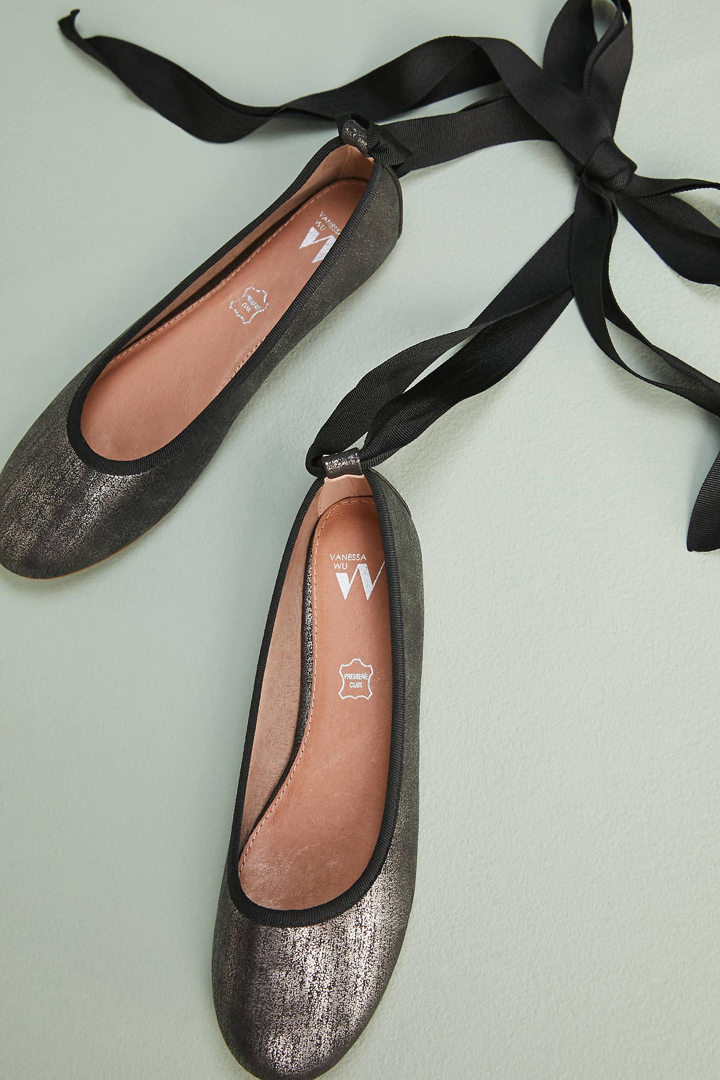 Vanessa Wu Ribbon-Tied Ballet Flats