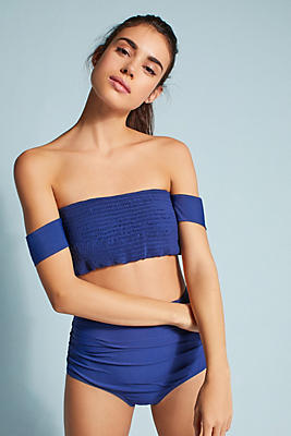 Slide View: 2: Smocked Off-The-Shoulder Bikini Top