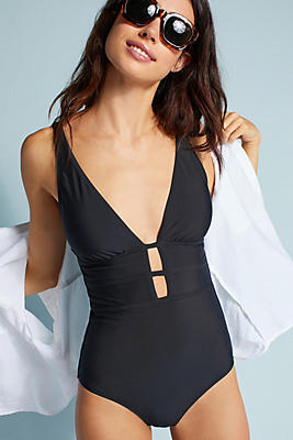 Slide View: 1: Plunging One-Piece Swimsuit