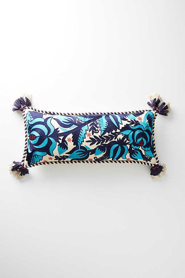 Tasseled Gertrude Cushion - Blue, Size 12 X 27
