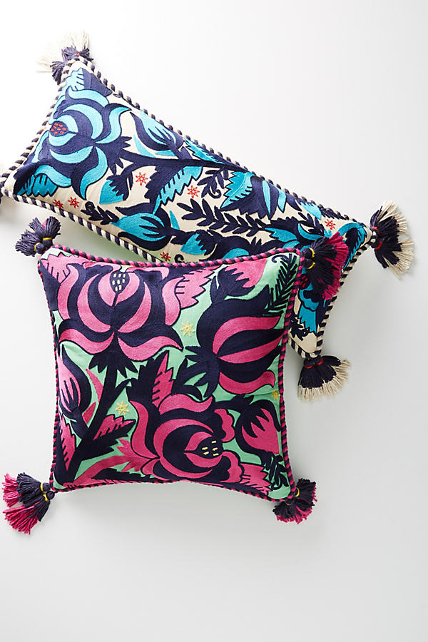 Tasseled Gertrude Cushion - Medium Pink, Size 20 In Sq