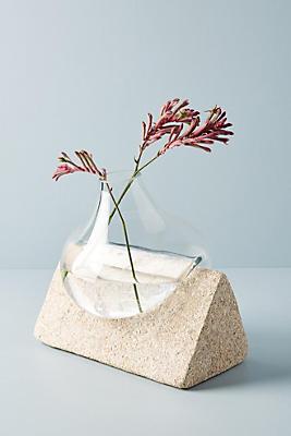 Slide View: 1: Glass & Stone Vase